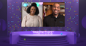 Imagine Cup World Championship hosts Donovan Brown and Tiernan Madorno smile on a virtual stage.
